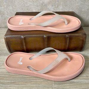 SANUK Pink & White Sidewalk Flip Flop Sandal